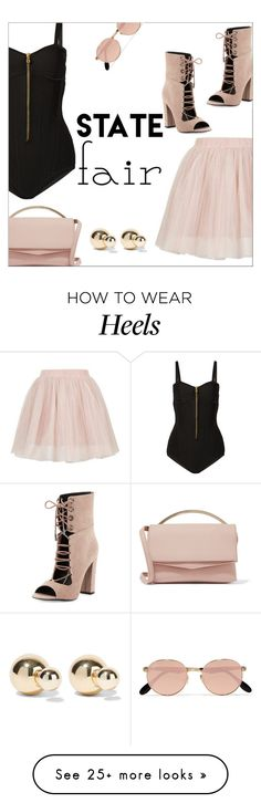 """Summer Date: The State Fair"" by danielle-487 on Polyvore featuring Balmain, Topshop, Eddie Borgo, Kendall + Kylie, Ray-Ban, Kenneth Jay Lane, statefair and summerdate"