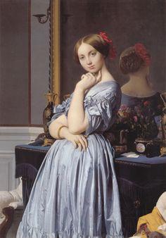 Jean Auguste Dominique Ingres, vicomtesse Othenin d'Haussonville, née Louise-Albertine de Broglie , 1845.