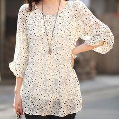 Moda mulheres Chiffon manga três quartos solto Tops blusa verão blusa em Blusas de Moda e Acessórios no AliExpress.com | Alibaba Group
