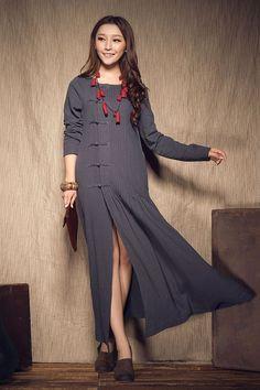 Grey Winter Dress - Wedding maxi linen dress; winter maxi dress in grey, longsleeve pleated cocktail dress