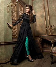 Black Net Designer Anarkali Suit 61030