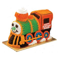 This Choo Choo Train Cake is sure to bring a smile to the face of your little engineer-to-be! Wilton 3-D cake pans make stand-up cakes like this easy to bake and decorate.