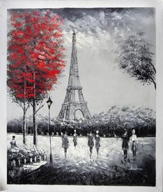 "Amazon.com - ""The Eiffel Tower, Paris"" - Large Fine Art oil on canvas painting. Superb quality and craftsmanship. - Paris Canvas Art"