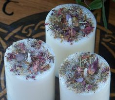 GODDESS Handfasting Unity Soy Pillar Votive Candles with Traditional Celtic Handfasting Herbs and Rose Quartz by ArtisanWitchcrafts, $19.95