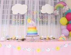 Happy Cloud Birthday Package, Rainbow,  Sun, Summer Girl Birthday Themes, Rainbow Birthday Party, Girl First Birthday, First Birthday Parties, First Birthdays, Birthday Ideas, Cloud Party, Birthday Packages, Heart Party