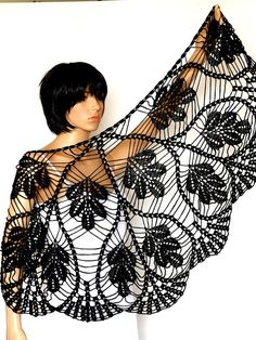Crocheted Black  Shawl Pattern, Crochet  PDF Tutorial, Womens Scarf Pattern