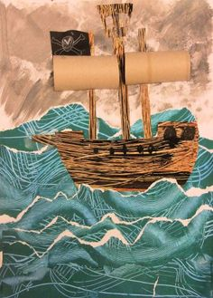 Pirate Ships in Stormy Seas: Painted Paper Texture Collage (October – Hannah's Art Club Pirate Art, Pirate Theme, Pirate Ships, Pirate Crafts, Painting For Kids, Art For Kids, Stürmische See, Peter Pan Art, Bateau Pirate