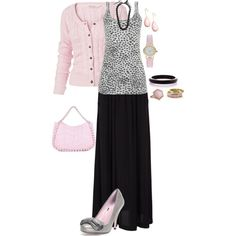 Pink and Black with Leopard Spots :) not sure about that skirt but with some flowing pants I would wear this !!