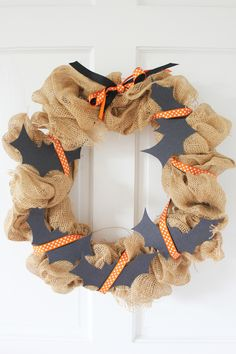 Burlap Wreath Decorated for Halloween
