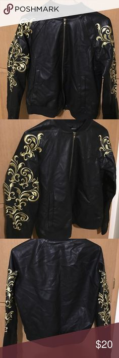 Embroidered sleeve jacket Great gold filigree embroidered sleeve jacket. Imitation leather. Worn only a few times. Simple but makes a statement- great for a night out or casual wear. I wear a M and this fits. Forever 21 Jackets & Coats