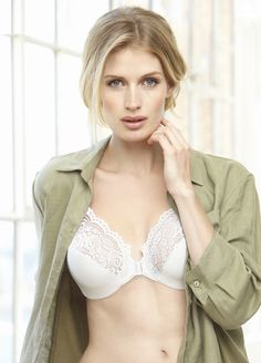 bd36ec45d9343 A front close wire bra with beautiful lace in the upper cups and super soft  cushioned straps.
