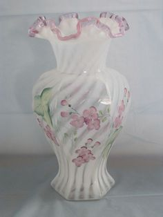 Tall Fenton Art Glass Hand Painted Opalescent Hexagon Vase - Signed - Mint Cond