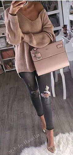 #winter #fashion / Pink Off Shoulder Knit / Pink Leather Tote Bag / Ripped Skinny Jeans / Metallic Pumps