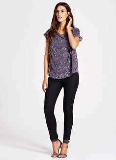 Smoke Beaded Cowl Layer Top | Tops | MintVelvet