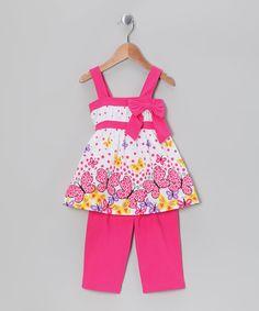 Fuchsia Butterfly Tunic & Capri Leggings - Infant, Toddler & Girl