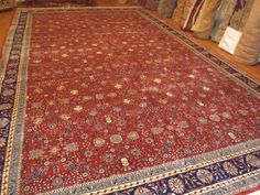 """Decorative hand knotted Very Fine Kashan rug size 11' x 18'5""""  allover Red #KASHAN"""