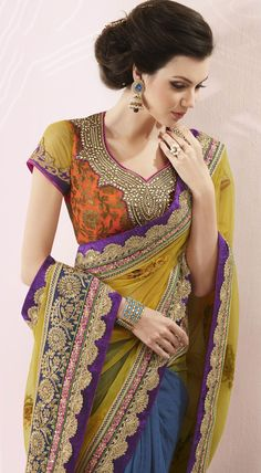 Multicolor Crepe #Wedding #Wear #Saree Blouse | @ $136.78