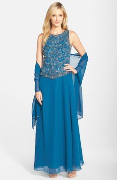 J Kara Beaded Chiffon Gown with Shawl available at #Nordstrom
