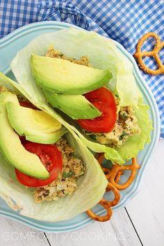 Avocado Tuna Salad Lettuce Wraps. Click image for recipe. Swap out tuna for chicken.