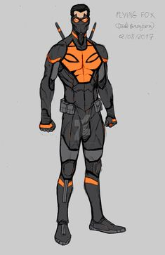 Design sheet for Flying Fox, a new superhero persona I created for Dick Grayson. The other day, I was talking with a fellow geek and fan of Nightwing. Archer Characters, Superhero Characters, Superhero Suits, Superhero Design, Comic Character, Character Concept, Character Design, Comic Books Art, Comic Art