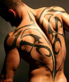 Tribal full back tattoo for men