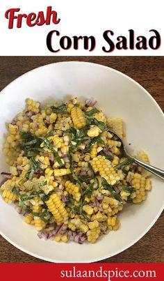 Corn Salad Recipes, Corn Salads, Potluck Recipes, Easy Salads, Quick Recipes, Whole Food Recipes, Vegan Recipes, Fresh Corn Salad, Summer Corn Salad