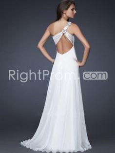 2014+Style+A-line+One+Shoulder+Hand-Made+Flower+Sleeveless+Floor-length+Chiffon+White+Prom+Dress+/+Evening+Dress+