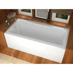 Soak your cares away in this classy deep bathtub designed to hold up to 50 gallons of water. The non-porous surface is safe for bathing salts and aromatic oils. Add a few bubbles and some scent to the