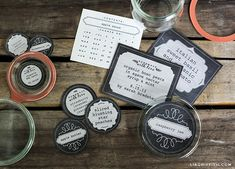 Beautiful chalk-board-style canning jar labels in various sizes and styles - pdf files - free for download.