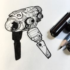 Two years ago… Two years ago today, I posted my first robot drawing and started my Droid A Day project. Spaceship Drawing, Robots Drawing, Spaceship Design, Spaceship Concept, Space Ship Concept Art, Alien Concept Art, Man Sketch, Cylinder Shape, Space Crafts