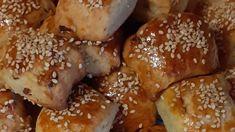 Μίνι γεμιστές μπουκίτσες με αλλαντικά και αφράτη ζύμη Pretzel Bites, Feta, French Toast, Bread, Breakfast, Morning Coffee, Brot, Baking, Breads