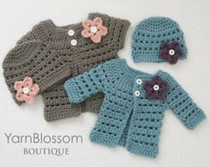 *This listing is for a DIGITAL PATTERN that you can download once payment has cleared and not an actual finished item*  This pattern is for an adorable cardigan and beanie outfit. The pattern includes instructions to make the cardigan in 4 sizes and with the option of long or short sleeves. This little cardigan and beanie set is perfect to keep your baby warm or for her to wear in her first photos! Discount Codes: Buy 3 patterns get 1 free! -enter coupon code GET1FREE at checkout- Buy 6…