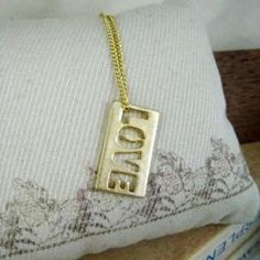 Gold LOVE Letter Necklace Gold - One Size