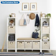 Make a grand entrance--check out our entryway organization products here! (Shown: Clybourn 3-Cubby Bench, Whitewash Rattan Cubes, Yamazaki Tosca Baskets) Entryway Storage, White Storage, Cube Decor, Cube Storage Bench, Storage, Cube Storage, Foyer Storage, Bedroom Storage, Entryway