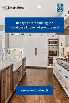 Farmhouse Style Kitchen, Rustic Kitchen, New Kitchen, Home Design Decor, House Design, Kitchen Layout Plans, Coffee Bars In Kitchen, House Construction Plan, Kitchen Cabinet Styles