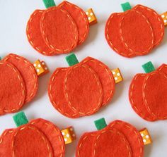 Orange Pumpkin Felt Hair Clip Cute Fall por MasterpiecesOfFunArt