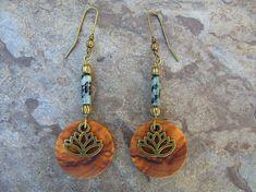 Earrings olive wood lotus flower yoga african turquoise créoles round wooden earhangers boho alentejoazul bronze natural jewelry  vegan
