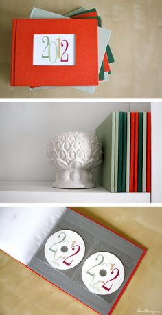 How to organize and back up photos and video: Yearly photo books take up little space on the shelf. Photos and video DVDS can go in the back.