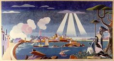 Vista da Coruña (1959), de Urbano Lugrís Native Indian, Landscape Art, Nativity, This Or That Questions, Illustration, Painting, Landscapes, Google, Fine Art