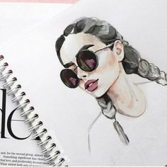 Watercolour girl with braids and round sunglasses.