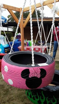 3-legged Minnie Mouse Tire Swing - Make The Little Girl In Your Life Squeal With…