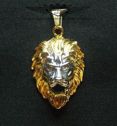 Anhänger, Löwenkopf, 24 Karat Teilvergoldet, Biker, Gold