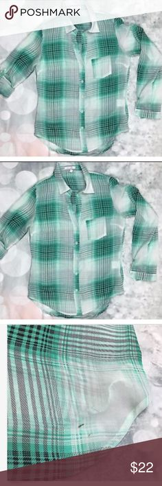 Delia's Sheer Anthro Plaid Long Sleeve Shirt Delia's Sheer Women's Green Plaid Long Sleeve Shirt Popover dELiA*s Tops Blouses