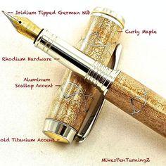 Custom Wooden Pen Custom Fountain Pen Curly Maple with Aluminum Scallops Rhodium and Gold Titanium Hardware 588FPB