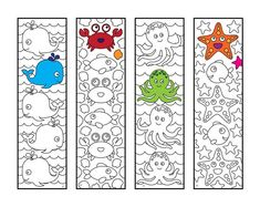 Cute Sea Animal Bookmarks – PDF Zentangle Coloring Page – Scribble & Stitch coloriage halloween à imprimer Colouring Pages, Printable Coloring Pages, Coloring Sheets, Coloring For Kids, Adult Coloring, Flower Birthday Cards, Cute Dinosaur, Fish Design, Art Plastique