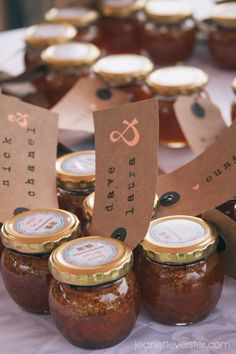 favours - ginger and gooseberry jam Gooseberry Jam, Favours, Breakfast Ideas, Place Card Holders, Weddings, Morning Tea Ideas, Wedding, Marriage