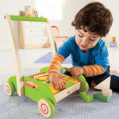Click here for a multi-purpose push toy: http://kiddokorner.com/block-and-roll.html Fill, build, dump, carry, push, pull, play. How many more ways can your child use this do-everything toy? Fine Motor Skills: Promotes dexterity, hand/eye coordinations, and manipulations. Problem Solving: Introduces logic, matching, spatial relationships, critical thinking, and an understanding of cause and effect. $59.99 Gross Motor Skills (Physical Skills): Boosts coordination, balance, and physical…