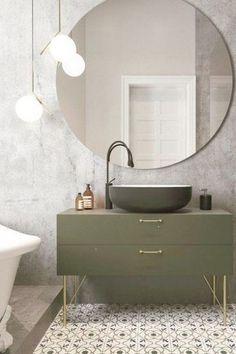 Farby do kúpeľne olivová zásuvková skrinka pod umývadlo. #bathroommirrors #bathroom #mirrors