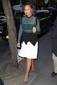 Chrissy Teigen wearing Self-Portrait while out in NYC