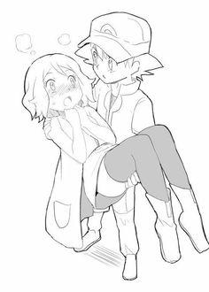 Ash and Serena Ash Pokemon, Pokemon Ash And Serena, Pokemon People, Pokemon Ships, Pokemon Fan Art, First Pokemon, Cute Pokemon, Pokemon Kalos, Manga Anime